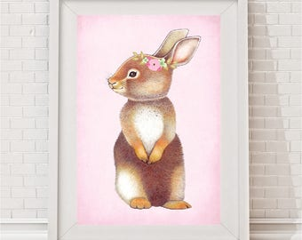 Vintage Blush Woodland Bunny Print