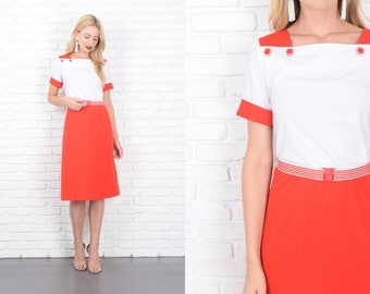 Vintage 80s Color Block Dress Red + White Striped Retro Medium M 10136