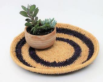 Handmade Woven Natural and Purple Design Basket