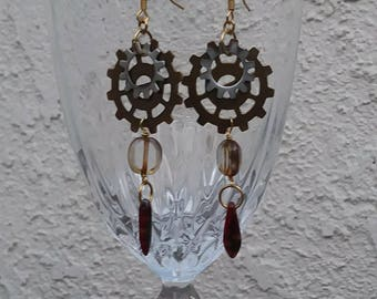 Gear and glass earrings - steampunk