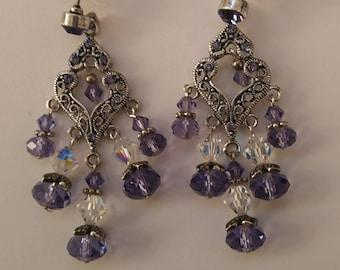 Tanzanite crystal chandelier earrings