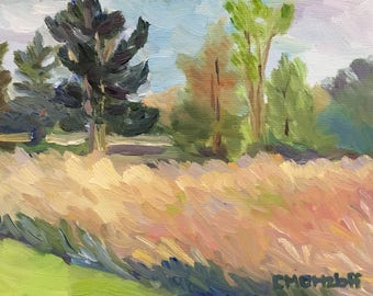 Landscape Painting on Canvas Spring Meadow and Trees