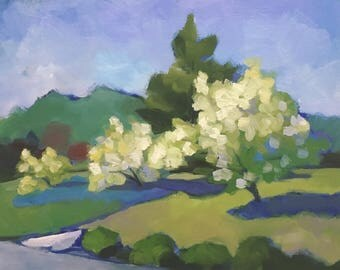 Flowering Trees  Impressionist Landscape Oil Painting on Canvas Panel