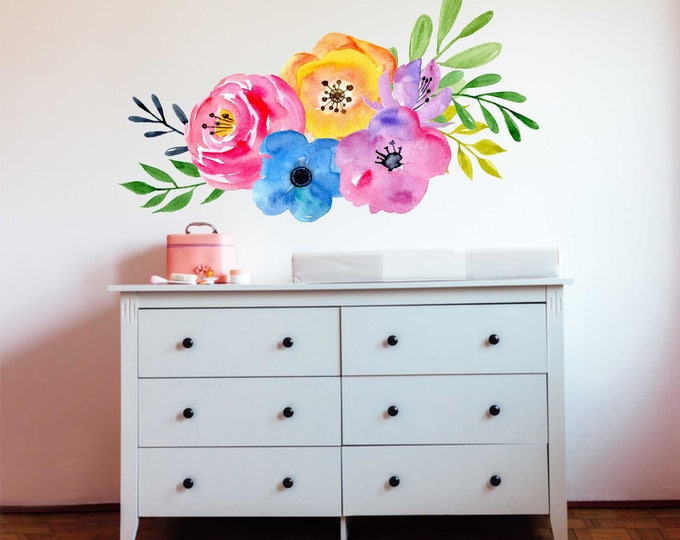 Renters Wallpaper  / Removable  and Reusable Fabric Floral Wall Decal  / Floral Wallpaper / Peel and Stick Temporary Wallpaper