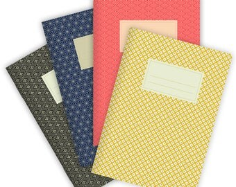 Set of 4 Notebooks Stapled A5 Japanese Patterns