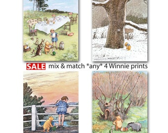 Classic Winnie the Pooh Nursery Print (Girls Decor, Boys Room Wall Art) Mix & Match Gift, Set of 4 - SALE