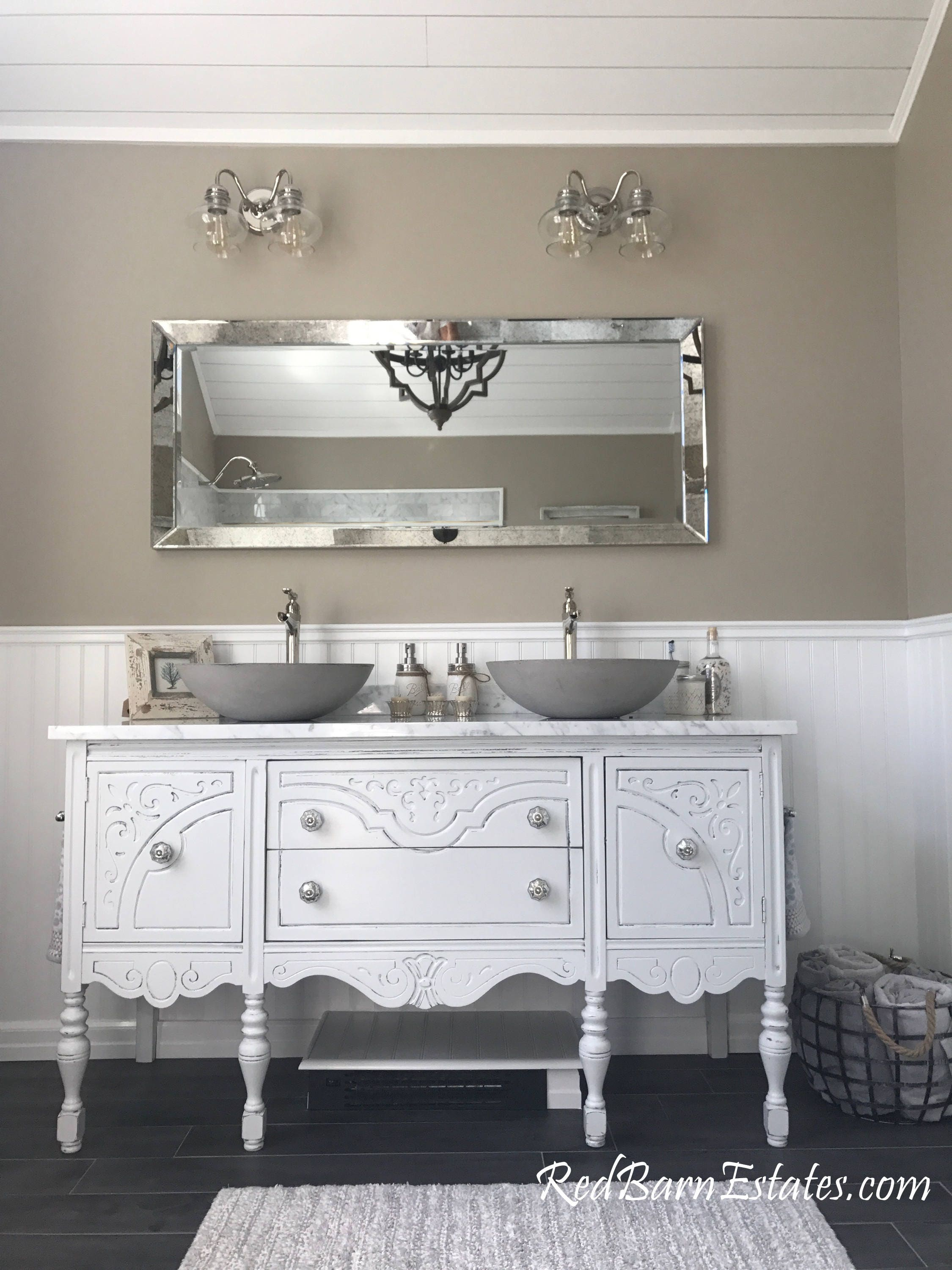 Bathroom Vanity For Double Or Single Sink We Custom Convert From Antique Dresser Shabby Chic