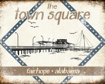 """The Town Square // Fairhope, Alabama  // Metal Sign // 12"""" x 16"""""""