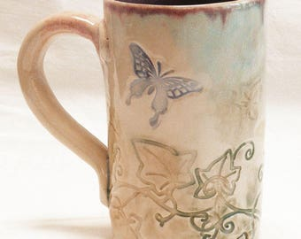 ceramic butterfly coffee mug 16oz  stoneware 16D042