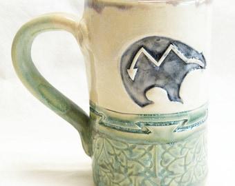hand built bear ceramic coffee mug 16oz stoneware 16D070