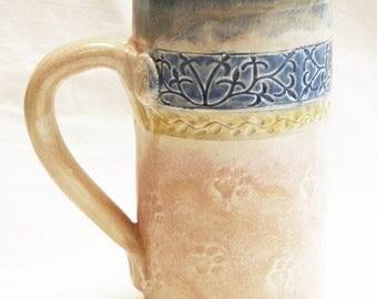 ceramic paw prints coffee mug 20oz stoneware 20D044