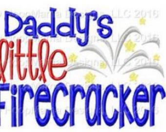 Daddy's little firecracker-  4th of July Custom Applique Shirt -Ruffle or Flutter Tee