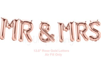 "MR & MRS Rose Gold Letter Balloons 13.5"" Air Fill only / Wedding Bridal Shower Photo Prop Balloons"