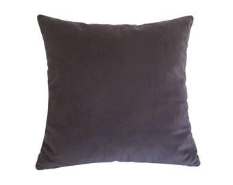 "Plum Velvet Suede Decorative Throw Pillow Cover / Pillow Case / Cushion Cover / 18x18"""
