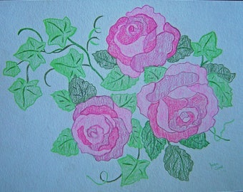 Pink Roses with Green Leaves