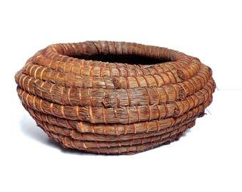 early Native American LongLeaf Pine Needle basket, Woodland Native American Seminole Basket, Native American art, early basketry