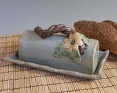 Blue Butter Dish - In the Treetops - Blue with yellow flower - Pottery butter dish with lid - ready to ship