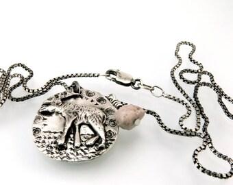 Moose, Moose Pendant, Moose Necklace, Moose Charm, Moose Jewelry, Moose Totem, Bull Moose, Silver Moose, Sterling, 18 inch, Pebble, 1107m-2