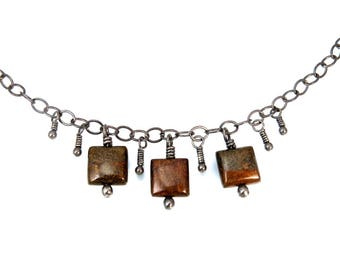 Oxidized Silver, Sterling Silver, Black Necklace, Jasper, Jasper Jewelry, Oxidized Necklace, Silver, Choker, Adjustable, Brown, 1298