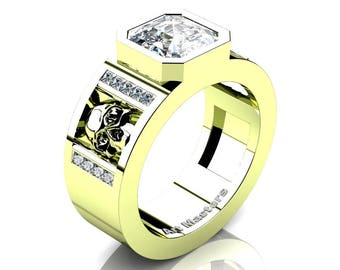 Mens Modern 18K Green Gold 3.0 Ct Royal Emerald Cut White Sapphire Princess Diamond Skull Wedding Ring R41N-18KGGDWS