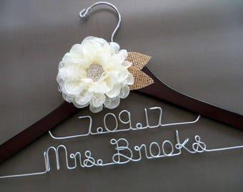 2 Line Hanger, LACE FLOWER Wedding Hanger, Two Line Hanger, Rustic Bride Hanger, Wedding Date Hanger, Personalized Hanger, Shower Gift