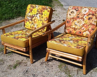 Pair Of Vintage C.1950u0027s Bamboo Rattan Lounge Chairs   Mid Century Modern /  Hollywood