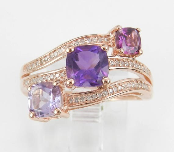 Amethyst and Diamond Multi Row Cocktail Ring Rose Gold Size 7.25 Cushion Cut