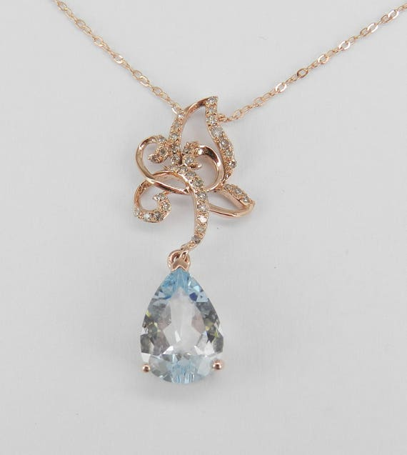 "Aquamarine and Diamond Pendant Necklace Rose Gold 17"" Chain March Birthday Gem"