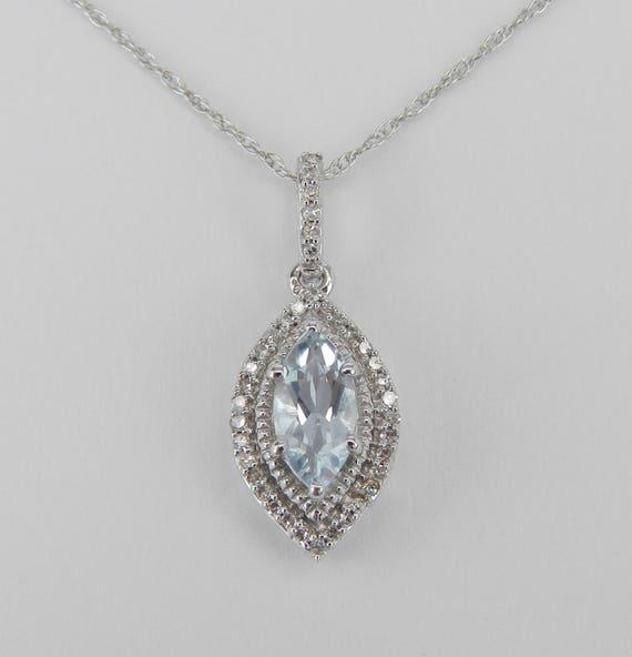 "Diamond and Marquise Aquamarine Pendant Necklace White Gold 18"" Chain Aqua March Gemstone"