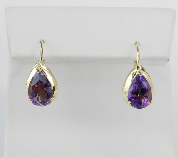 14K Yellow Gold Pear Amethyst Earrings Purple February Gemstone Leverback