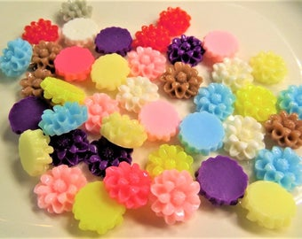12mm Mixed Color Flower Cabochon, Mixed Random Selection, Y34