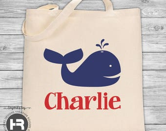 Whale Tote Bag - Boys Whale Beach Bag - Personalized Bag - Perfect for a Big Brother Kit - Pool Bag - Beach Bag - Graduation Gift