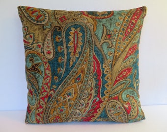 Paisley Pillow Cover in Teal Blue Red Gold Brown / Teal Red Pillow / Accent Pillow / Decorative Pillow / 18 x 18 Pillow