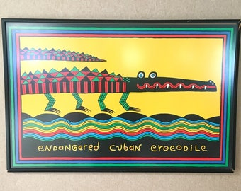 "Vintage ""Endangered Cuban Crocodile"" Serigraph by Judy Kensley McKie, 1985"