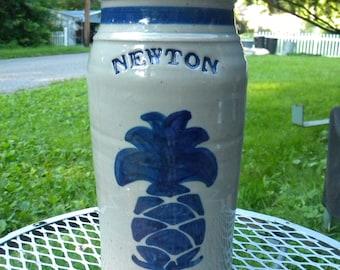tall vintage 1980s signed harvey STONEWARE POTTERY cylinder jar from NEWTON nj