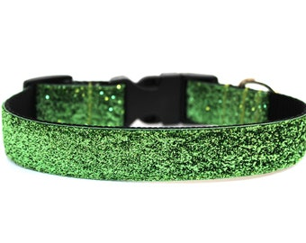 "Green Dog Collar 1"" Glitter Dog Collar Saint Patrick's Day Dog Collar"