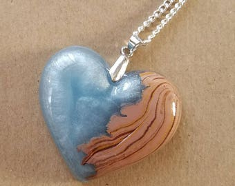 Crystal Wood Heart Necklace Pendant