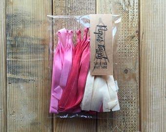 Paper Tassels - Party Decor - Tassel Garland - 12 Tassels - Fuchsia Pink Cream Paper Tassels