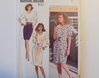 Ronnie Heller MJ Butterick  Women's Dress  Sewing Pattern 6282 Womens Classic Fashion Dress Misses Size 6 Average Sewing Rating