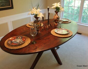 Oval Walnut Table / Modern Table / Custom Table / Custom & Handcrafted / Dining Table / Modern / Kitchen Table