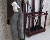Gentleman's Stained Glass Cane Walking Stick in1:12 Scale for Dollhouse Miniature Doll or Hall