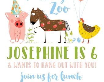 Petting Zoo Birthday Invitation, Custom Party Invitations, Baby Animals, Spring Birthday Invitations