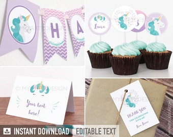 Unicorn Party Pack - Pastel Purple - Girl Birthday Party - INSTANT DOWNLOAD - Printable PDF with Editable Text