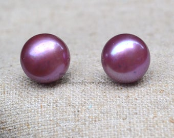 Purple Pearl Earrings,11.5mm Freshwater Pearl Earrings,Sterling Silver Earrings,big Pearl Earrings Stud,real pearl ear rings,wedding earring