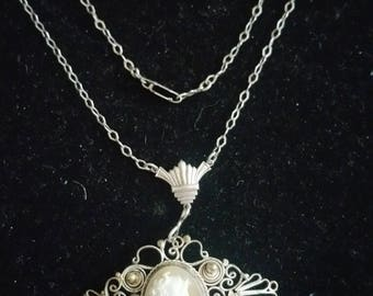 Vintage sterling Filigree Carved Cameo Art Deco Necklace