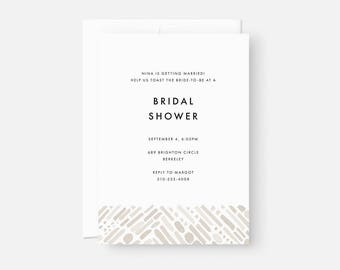 Minimalist Bridal Shower Invitation / Simple Modern Party Invite / Painterly Pattern / Neutral Taupe / Coed Baby Shower, Engagement Party