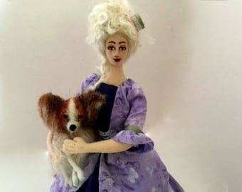 Marie Antoinette cloth art doll needle felt Papillon dog poseable wire armature