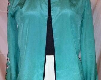 "BIG SUMMER SALE 70s Vintage Mod Silk Jacket-Serge Nancel Paris-Size 4-Small-36"" Bust-Office-Special Event-Resort Cruise"