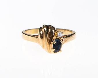 Sapphire and CZ Gold Ring