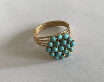 Vintage 60s 18k Yellow Gold Ring Turquoise Ring Size Ring 8.70 US 58.7 French European Jewelry Stamped